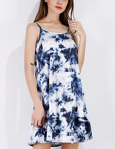 여성 루즈핏 드레스 캐쥬얼/데일리 비치 귀여운 스트리트 쉬크 프린트,스트랩 무릎 위 민소매 폴리에스테르 여름 중간 밑위 약간의 신축성 얇음