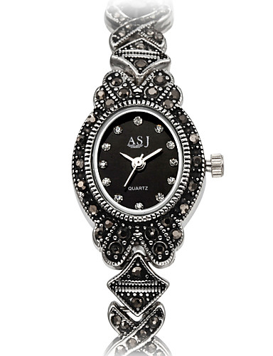 ASJ Mujer Reloj de Moda / Reloj Pulsera Japonés Resistente al Agua / Resistente a los Golpes / La imitación de diamante Aleación Banda Encanto / Flor / Vintage Titanio / Un año / SSUO SR626SW