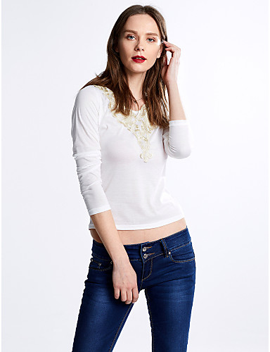 Women's Casual / Street chic Cotton T-shirt - Solid Colored