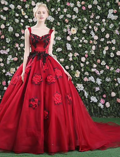 28044be5459 Βραδινή τουαλέτα Πριγκίπισσα Μακριά ουρά Δαντέλα Σατέν Τούλι Mikado Επίσημο  Βραδινό Φόρεμα με Φτερά / Γούνα
