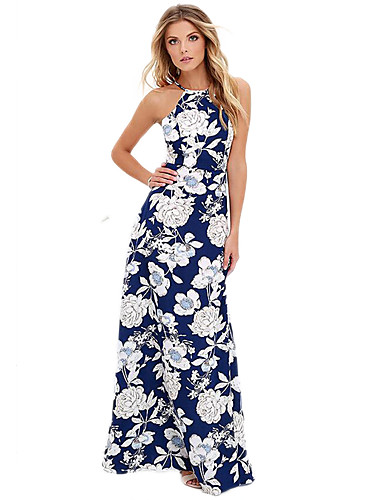 Women's Beach Holiday Boho Sheath Dress,Floral Strap Maxi Sleeveless Cotton Summer High Rise Micro-elastic
