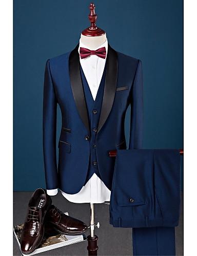 billige Brudgom og brudesvenner-Marineblå Ensfarget Slank Fasong Bomull / Polyester / Spandex Dress - Buet Enkelt Brystet Enn-knapp / drakter