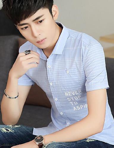 남성 줄무늬 스탠드 짧은 소매 셔츠,심플 캐쥬얼/데일리 면