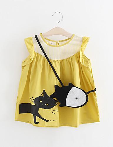 bebê Menina de Vestido Sólido Todas as Estações Algodão Sem Manga Com Babado Rosa Amarelo
