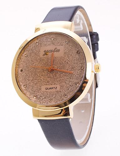Mulheres Quartzo Relógio Pavé Relógio de Pulso Chinês Estrelado PU Banda Amuleto Elegant Fashion Preta Branco Vermelho Marrom Roxa