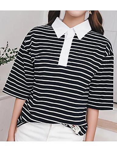 남성 줄무늬 셔츠 카라 짧은 소매 티셔츠,심플 캐쥬얼/데일리 면 얇음