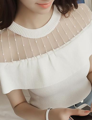 여성 자수장식 라운드 넥 짧은 소매 티셔츠,심플 캐쥬얼/데일리 그외 봄 여름 중간