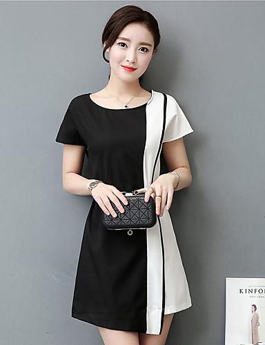 여성 바디콘 드레스 캐쥬얼/데일리 심플 솔리드,라운드 넥 미니 짧은 소매 면 여름 중간 밑위 약간의 신축성 중간
