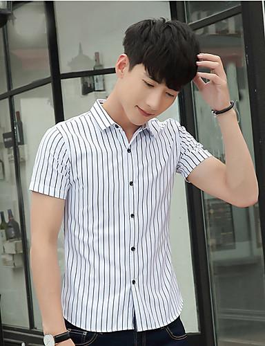 남성용 줄무늬 클래식 카라 셔츠, 캐쥬얼 면 / 짧은 소매