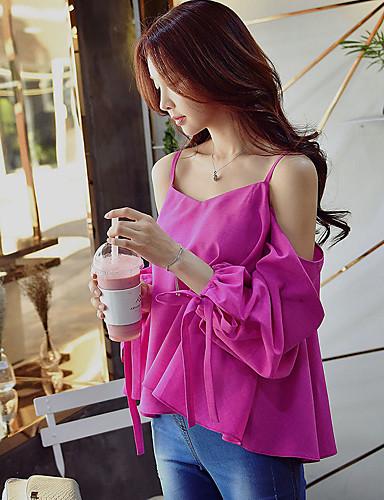 여성 솔리드 V 넥 짧은 소매 셔츠,섹시 스트리트 쉬크 정교한 디테일 파티/칵테일 클럽 휴일 폴리에스테르 여름 불투명 얇음