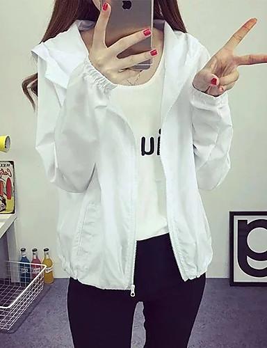 여성 솔리드 후디 긴 소매 트렌치 코트,단순한 활동적 캐쥬얼/데일리 짧은 그외 봄
