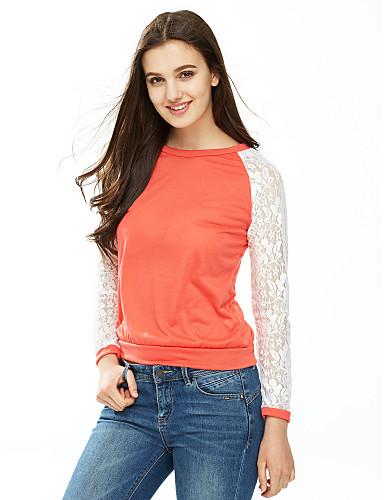Mulheres Camiseta Simples Renda, Retalhos / Outono / Rendas