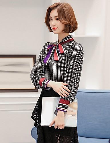 여성 체크 스탠드 긴 소매 셔츠,빈티지 심플 귀여운 데이트 캐쥬얼/데일리 휴일 레이온 사계절 여름