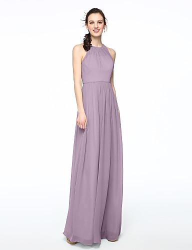 796b5ced1b40 A tubino Con decorazione gioiello Lungo Chiffon Vestito da damigella con A  pieghe di LAN TING BRIDE®