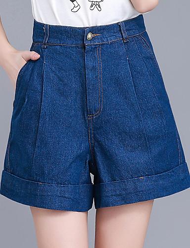 Mulheres Tamanhos Grandes Cintura Alta Algodão Perna larga Shorts Jeans Calças - Sólido Pregueado