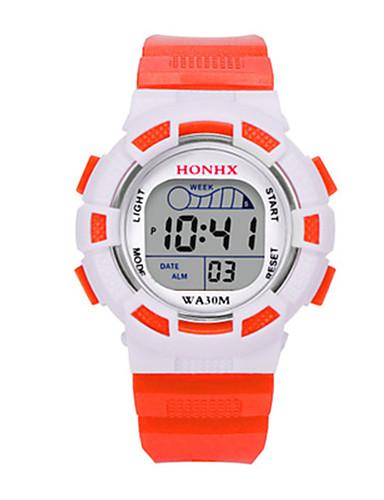 아동 스포츠 시계 디지털 시계 중국어 디지털 실리콘 밴드 블루 레드 오렌지