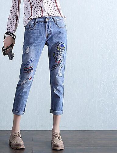 Dámské Jednoduchý strenchy Džíny Kalhoty Volné Mid Rise Jednobarevné