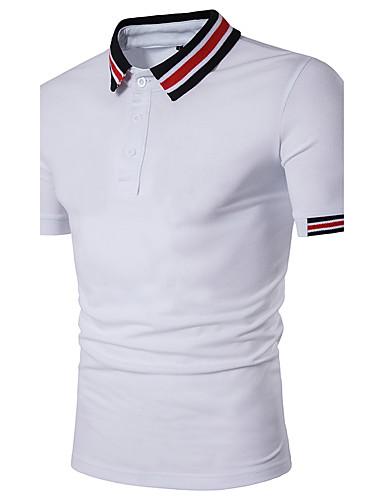 Herren Druck Einfach Lässig/Alltäglich T-shirt,Hemdkragen Kurzarm Baumwolle