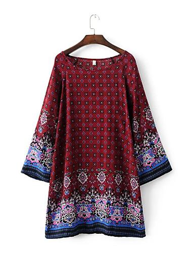 여성 루즈핏 시프트 드레스 데이트 캐쥬얼/데일리 단순한 스트리트 쉬크 프린트,라운드 넥 무릎 위 긴 소매 실크 면 여름 가을 중간 밑위 약간의 신축성 중간