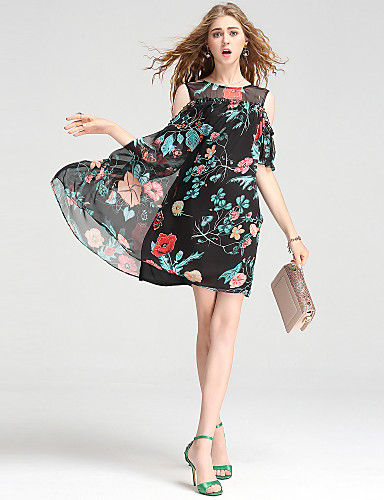 a6b9cdded7190 Kadın Dışarı Çıkma Günlük/Sade Çalışma Seksi Sokak Şıklığı sofistike A  Şekilli Elbise Çiçekli,