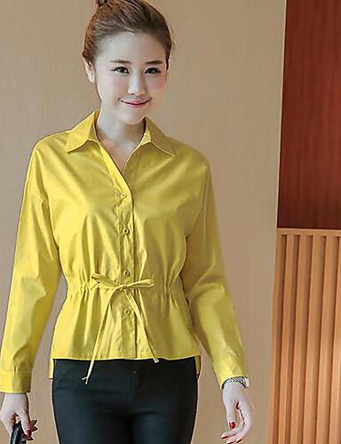 Damen Solide Einfach Niedlich Ausgehen Lässig/Alltäglich Arbeit Hemd,U-Ausschnitt Frühling Langarm Baumwolle