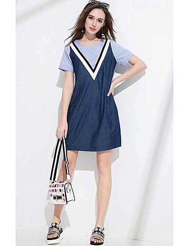 Damen Etuikleid Jeansstoff Kleid-Lässig/Alltäglich Einfarbig Rundhalsausschnitt Übers Knie Kurzarm Baumwolle Sommer Hohe Hüfthöhe