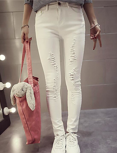 Dámské Jednoduchý strenchy Upnuté Kalhoty Štíhlý Vysoký pas Jednobarevné