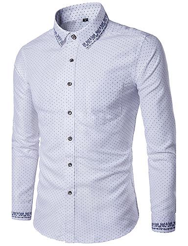 Men's Slim Shirt - Polka Dot Basic Spread Collar / Long Sleeve
