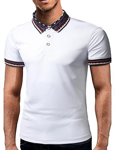 Pánské Barevné bloky Denní Na běžné nošení Tričko Bavlna Košilový límec Krátký rukáv