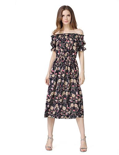 Damen Hülle Kleid-Lässig/Alltäglich Festtage Ausgehen Retro Sexy Blumen Bateau Midi Kurzarm Polyester Sommer Hohe Hüfthöhe Mikro-elastisch