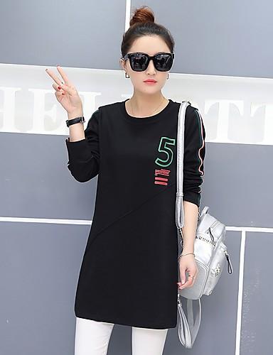 Damen Solide Druck Einfach Lässig/Alltäglich T-shirt,Rundhalsausschnitt Frühling Langarm Baumwolle Undurchsichtig