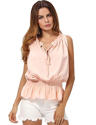Damen Solide Sexy Bluse,V-Ausschnitt Sommer Ärmellos Polyester