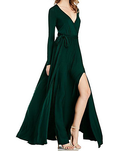 Dámské Volné Šaty - Jednobarevné Maxi Do V High Rise