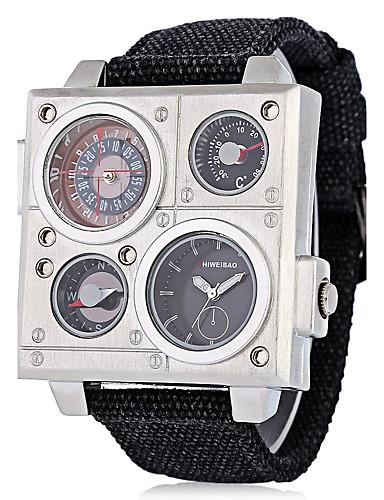 Homens Relógio Esportivo / Relógio Militar / Relógio de Pulso Chinês Calendário / Impermeável / Criativo Tecido Banda Casual / Fashion / Elegante Preta / Aço Inoxidável / Mostrador Grande / KC 377A