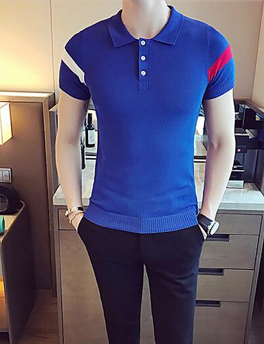 Herren Standard Pullover-Lässig/Alltäglich Einfach Solide Einfarbig Quadratischer Ausschnitt Kurzarm Baumwolle Herbst Dünn Mikro-elastisch
