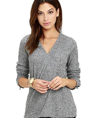 Damen Solide Einfach Lässig/Alltäglich T-shirt,V-Ausschnitt Herbst Langarm Kunstseide Mittel