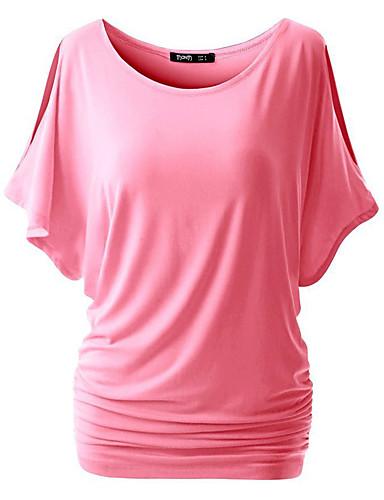 Damen Solide Freizeit Sexy Street Schick Alltag Ausgehen Übergröße T-shirt,Rundhalsausschnitt Frühling Sommer Kurzarm Polyester Mittel