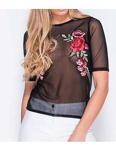 abordables Camisas y Camisetas para Mujer-Mujer Clásico Noche Camisa Un Color Negro M / Bordado