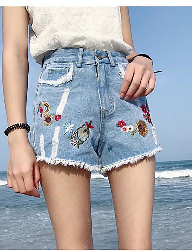 Damen Einfach Hohe Hüfthöhe Unelastisch Breites Bein Breites Bein Hose,Bestickt Stickerei
