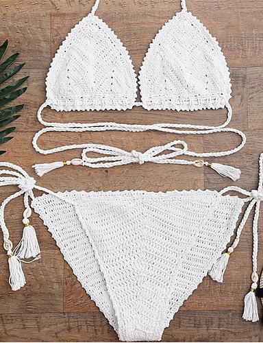 Damen Halfter Bikinis Quasten Acryl,Solide