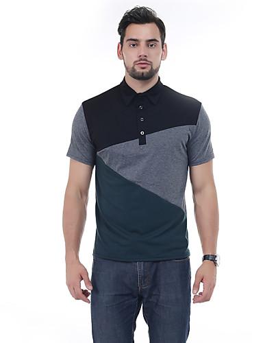 Homens Polo Casual Estilo Clássico, Retalhos Colarinho de Camisa / Manga Curta