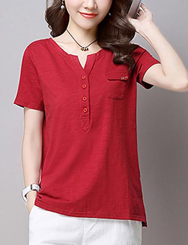 Damen Solide Einfach Anspruchsvoll Ausgehen Lässig/Alltäglich Bluse,V-Ausschnitt Alle Saisons Kurzarm Kunstseide