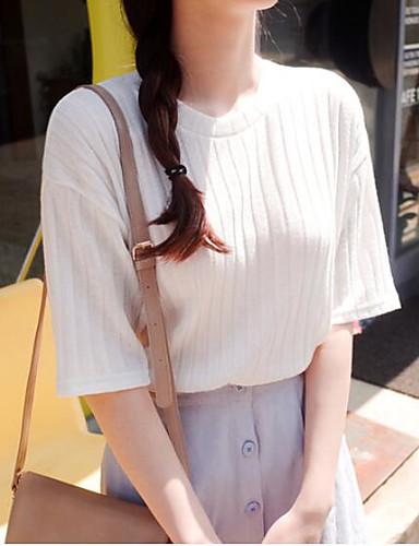 Damen Solide Retro Street Schick Ausgehen T-shirt,Rundhalsausschnitt Kurzarm Baumwolle