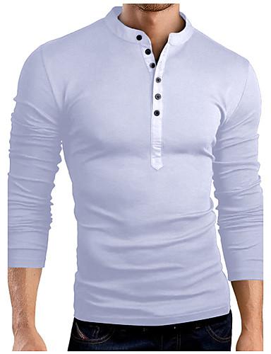 preiswerte Herren T-Shirts & Tank Tops-Herrn Solide - Grundlegend Baumwolle T-shirt, Ständer Schlank Grau XL / Langarm / Frühling / Herbst