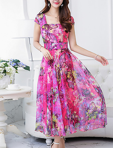 b61b71d9ffcc Women's Floral Plus Size Going out Boho Maxi Chiffon Swing Dress - Floral  Print Square Neck Summer Green Yellow Fuchsia XXL XXXL XXXXL