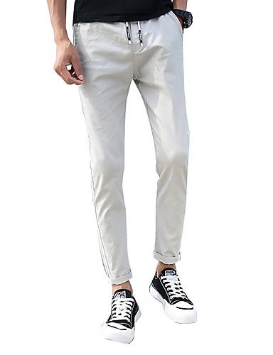 Miehet Yksinkertainen Joustamaton Skinny Viehe Chinos housut Housut,Keskivyötärö Yhtenäinen