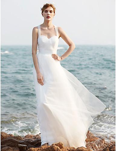 Linha A Correias Cauda Escova Tule Vestidos de noiva personalizados com Lantejoulas Franzido de LAN TING BRIDE®