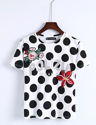 Damen Punkt Einfach Sexy Street Schick Bluse,Rundhalsausschnitt Sommer Kurzarm Baumwolle Dünn Mittel
