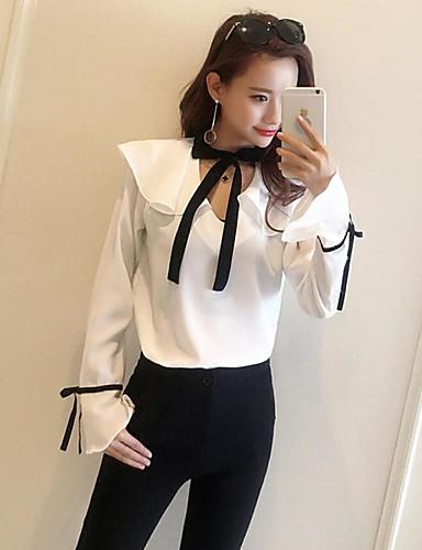 Damen Solide Sexy Ausgehen Bluse,V-Ausschnitt Langarm Polyester