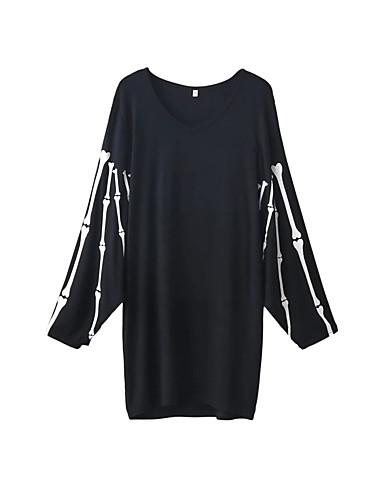 Damen Lose Etuikleid Kleid Einfach Street Schick Druck Rundhalsausschnitt Übers Knie Langarm Seide Baumwolle Sommer Herbst Mittlere